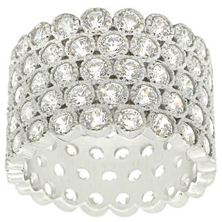 Gioelli Sterling Silver Cubic Zirconia Multi-row Ring
