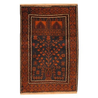 Herat Oriental Afghan Hand-knotted Tribal Balouchi Navy/ Brown Wool Rug (2'7 x 3'10)