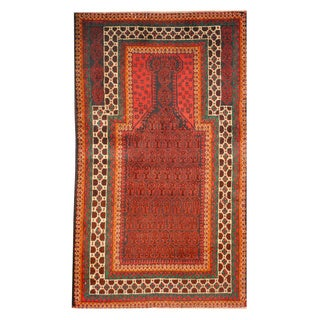 Herat Oriental Afghan Hand-knotted Tribal Balouchi Red/ Peach Wool Rug (2'8 x 4'6)