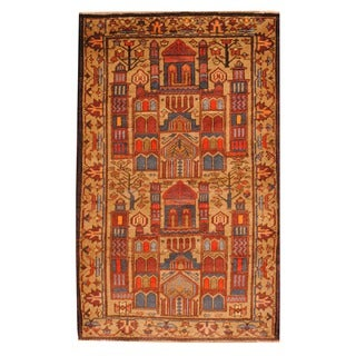 Herat Oriental Afghan Hand-knotted Tribal Balouchi Beige/ Blue Wool Rug (2'9 x 4'6)