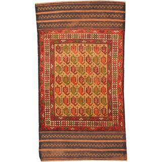 Herat Oriental Afghan Hand-knotted Tribal Balouchi Beige/ Burgundy Wool Rug (2'9 x 5'1)