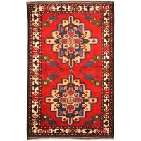 Herat Oriental Afghan Hand-knotted Tribal Balouchi Wool Rug - 2'10 x 4'5