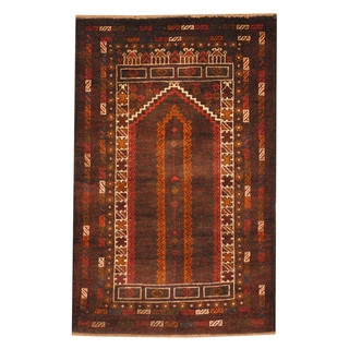 Herat Oriental Afghan Hand-knotted Tribal Balouchi Brown/ Peach Wool Rug (2'9 x 4'9)