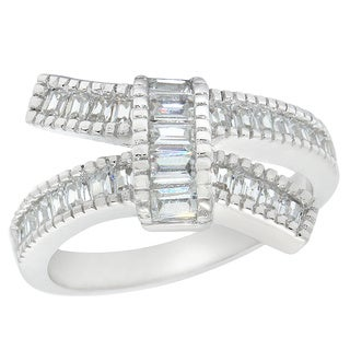 Sterling Silver Cubic Zirconia Ribbon Bow Ring