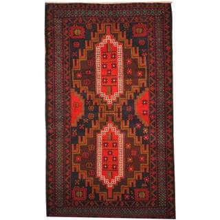 Herat Oriental Afghan Hand-knotted Tribal Balouchi Wool Rug (3'2 x 5'2)