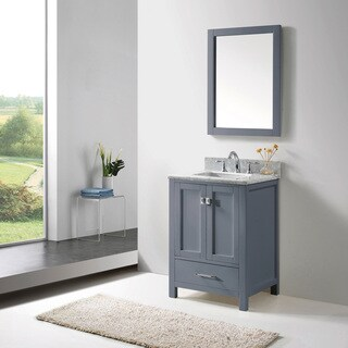 Caroline Avenue 24-inch Grey Single Vanity White Marble Top Mirror