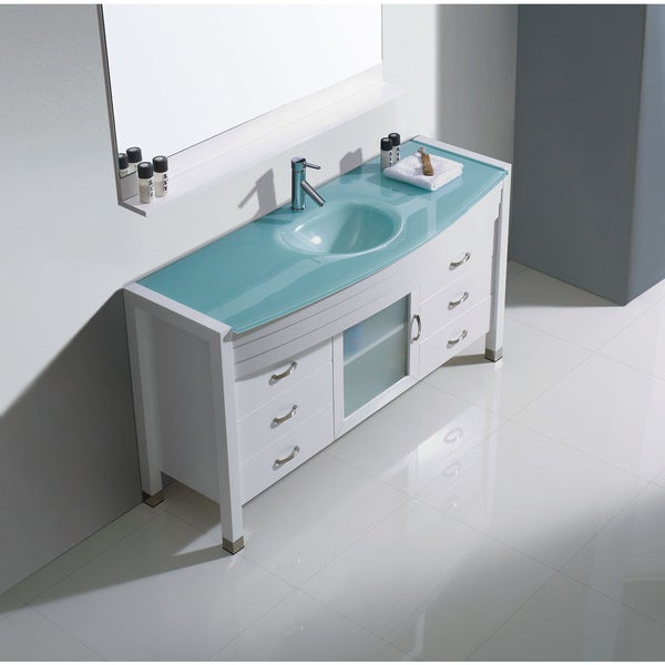 overstock kitchen sinks virtu usa white 55 inch single bathroom vanity cabinet 1353