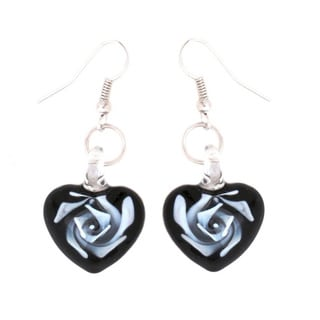 Bleek2Sheek Murano Inspired Glass Heart Black and White Swirl Flower Earrings