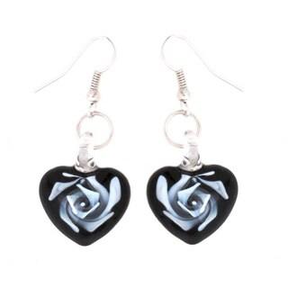 Bleek2Sheek Murano Inspired Glass Heart Black and White Swirl Flower Earrings