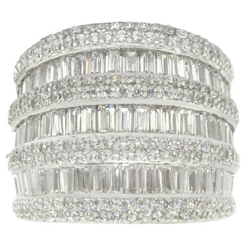 Gioelli Sterling Silver Multi-level Cubic Zirconia Ring