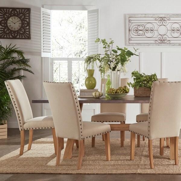 shop aberdeen industrial zinc top weathered oak trestle 7 piece dining set by inspire q artisan. Black Bedroom Furniture Sets. Home Design Ideas