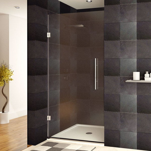shop lesscare 24 36 x 72 inch frameless clear glass chrome finish shower door free shipping. Black Bedroom Furniture Sets. Home Design Ideas
