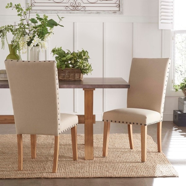 Aberdeen Beige Upholstered Nail Head Parson Chair (Set of 2) by iNSPIRE Q Artisan. Opens flyout.