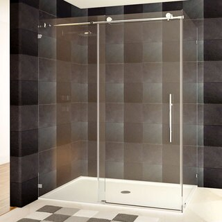 glass shower enclosure quick view lesscare 48 or 60 x 76 x 345inch frameless chrome brushed nickel finish