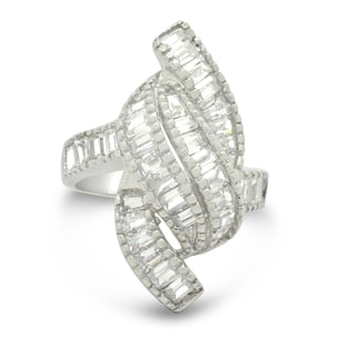 Gioelli Sterling Silver Baguette Straight Cubic Zirconia Designer Ring