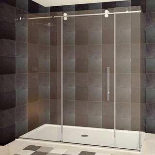 Frameless Shower Enclosure 68-72W x 72H x 36D Chrome/Brushed Nickel