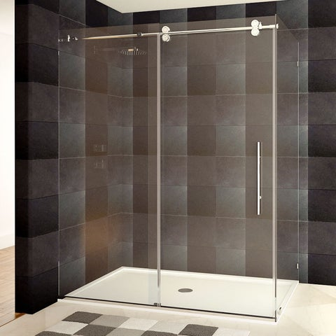 Frameless Shower Enclosure 44-48 or 56-60W x 79H x 36D Chrome/Brushed