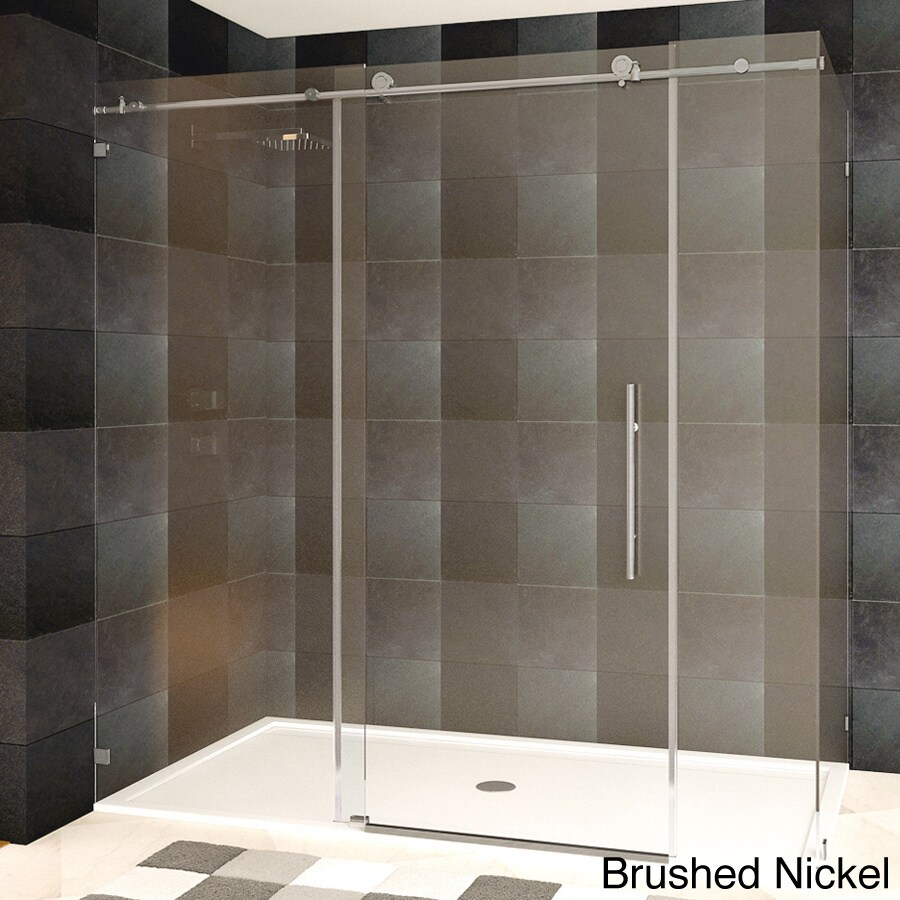 Lesscare clear glass shower door ultra b 44 48 wide x 76 high chrome - Lesscare Frameless Chrome Brushed Nickel Finish Clear Glass Shower Enclosure