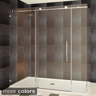 LessCare 72 x 76 x 34.5-inch Frameless Chrome/ Brushed Nickel FinishClear Glass Shower Enclosures
