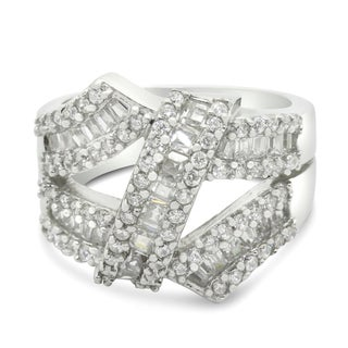 Gioelli Sterling Silver Baguette and Round-cut Cubic Zirconia Designer Ring