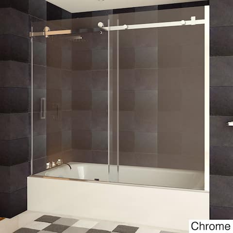 LessCare ULTRA-B 58-62W x 60H Bathtub Doors, Semi-frameless, Chrome Finish