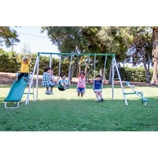 Sportspower Live Oak Metal Swing and Slide Set