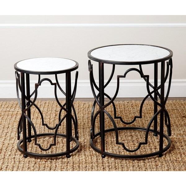 Abbyson harmon antiqued black round nesting end tables