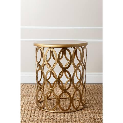 Abbyson Vista Gold Iron Circles Round End Table