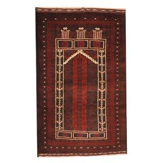 Herat Oriental Afghan Hand-knotted Tribal Balouchi Black/ Peach Wool Rug (2'8 x 4'6)