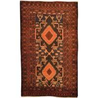 Herat Oriental Afghan Hand-knotted Tribal Balouchi Wool Rug - 2'9 x 4'8