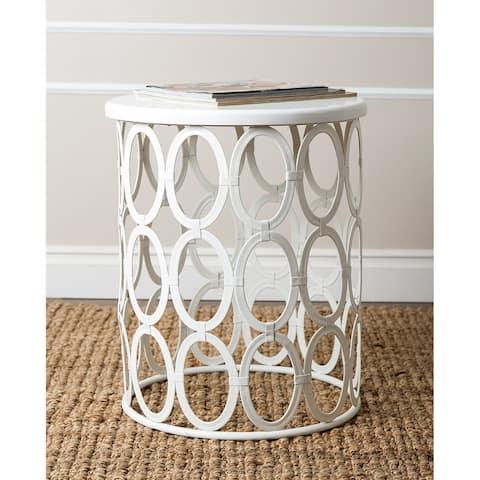 Abbyson Vista White Iron Circles Round End Table