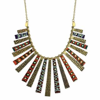 Handcrafted Goldtone Embossed and Thread Wrapped Crystal Studded Bib Necklace (India)