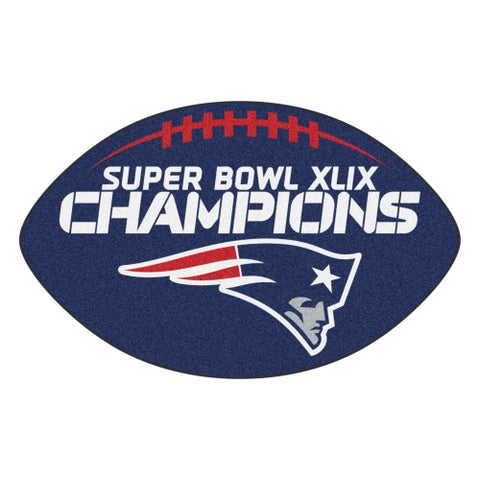 New England Patriots Super Bowl XLIX Champions Blue Nylon Football Rug - 1'8 x 2'9