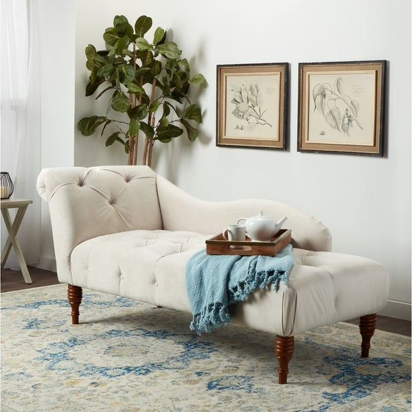 Abbyson 'Audrey' Ivory Velvet Tufted Chaise. Opens flyout.