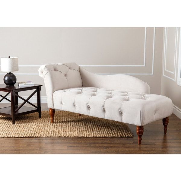 Abbyson u0026#x27;Audreyu0026#x27; Ivory Velvet Tufted Chaise  sc 1 st  Overstock : abbyson chaise - Sectionals, Sofas & Couches