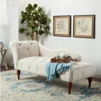Abbyson 'Audrey' Ivory Velvet Tufted Chaise
