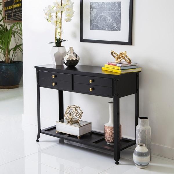 Abbyson 'Antoni' Antiqued Black Console Sofa Table