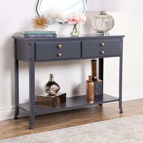 shop abbyson antoni antiqued blue console sofa table on sale rh overstock com Cornell Sofa Table Overstock Swivel Table