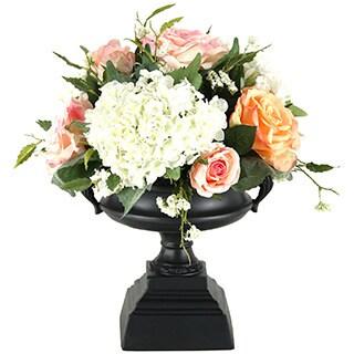 D&W Silks Roses and Hydrangeas in Black Pedestal Urn