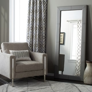 Abbyson Delano Grey Leather Floor Mirror