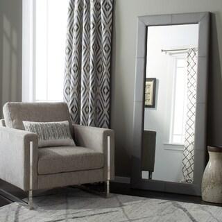 Abbyson Delano Grey Leather Floor Mirror