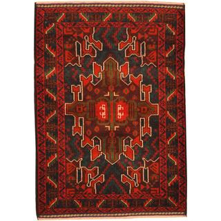 Herat Oriental Afghan Hand-knotted Tribal Balouchi Blue/ Brown Wool Rug (2'9 x 4')