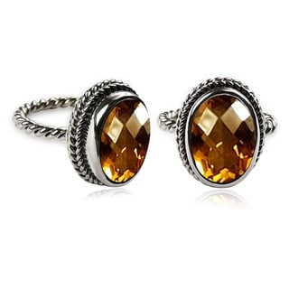 Handcrafted Sterling Silver Oval Faceted Citrine Bali Ring ( Indonesia)
