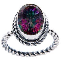 Handcrafted Sterling Silver Oval Faceted Mystic Topaz Bali Ring ( Indonesia)