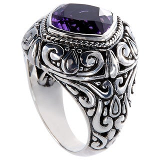 Handcrafted Sterling Silver Faceted Amethyst Bali Statement Ring (Indonesia)