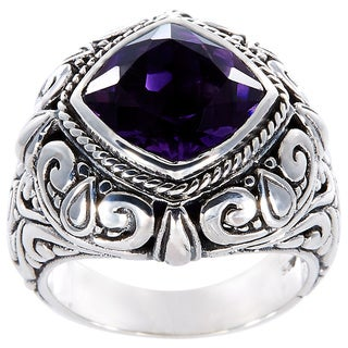 Handmade Sterling Silver Faceted Amethyst Bali Statement Ring (Indonesia)