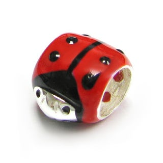 Queenberry Sterling Silver Red with Black Enamel Ladybug European Bead Charm