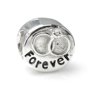Queenberry Sterling Silver Cubic Zirconia 'Forever' Wedding European Bead Charm