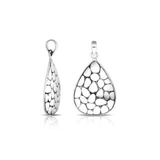Handmade .925 Sterling Silver Bali Pebbled Texture Teardrop Pendant (Indonesia)