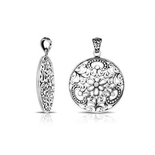 Handmade .925 Sterling Silver Bali Floral and Scroll Cut-work Pendant (Indonesia)